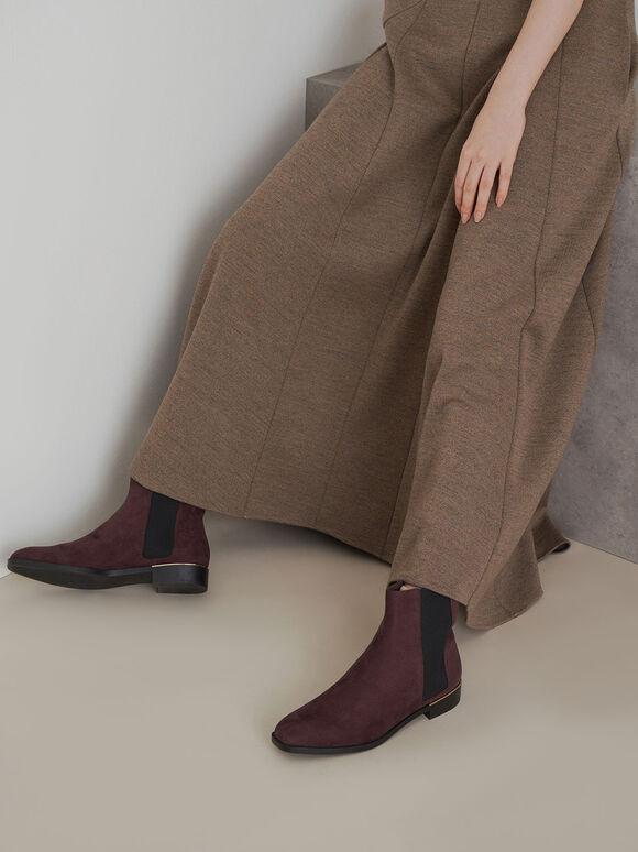 Textured Chelsea Boots, Purple, hi-res