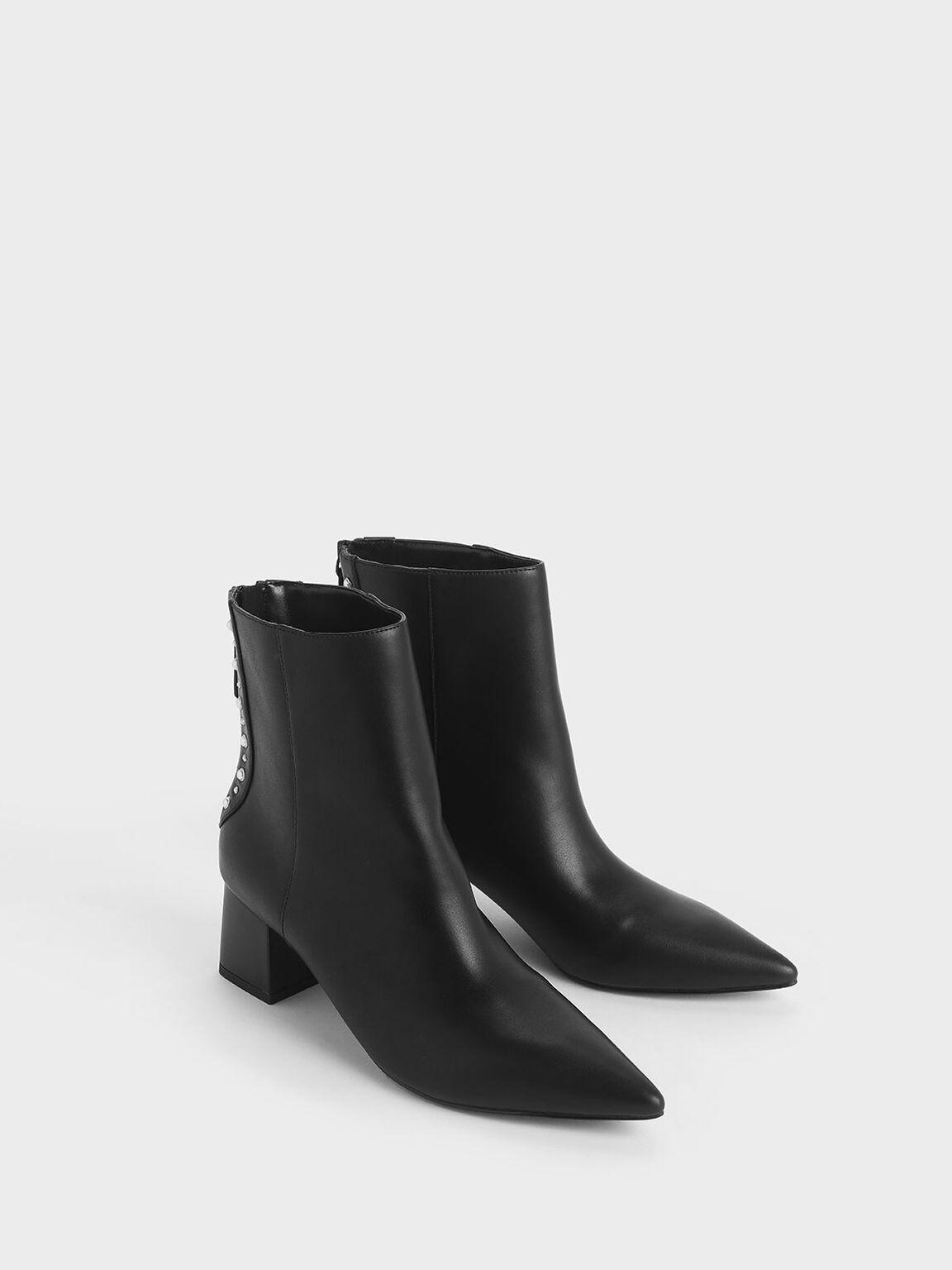 Embellished Trim Block Heel Ankle Boots, Black, hi-res