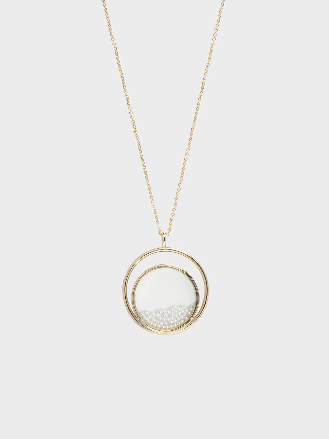 Pearl Finish Stone Floating Locket Matinee Necklace, Pearl, hi-res