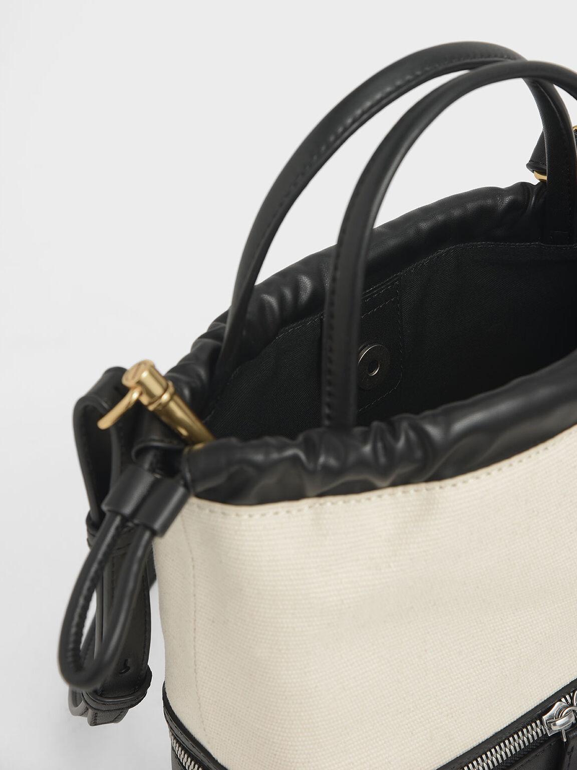 Two-Way Zip Canvas Drawstring Bag, Multi, hi-res