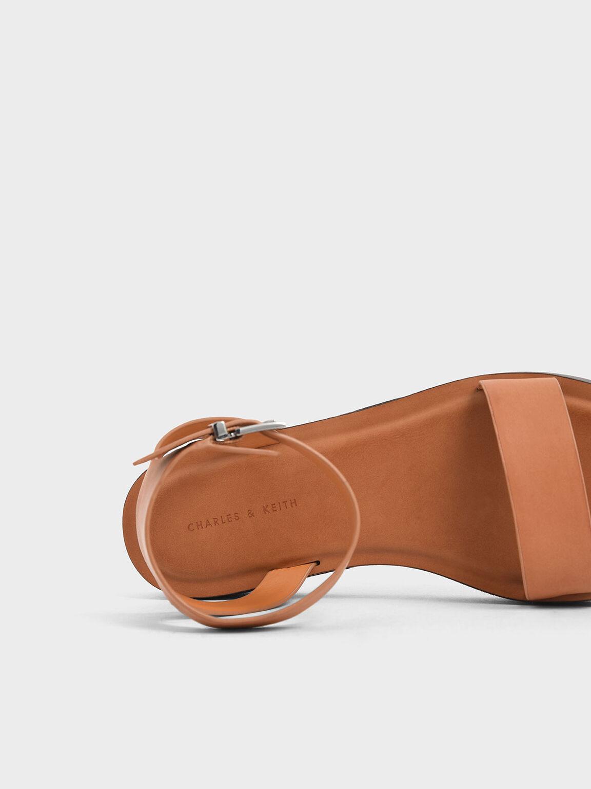 Ankle Strap Platform Sandals, Cognac, hi-res