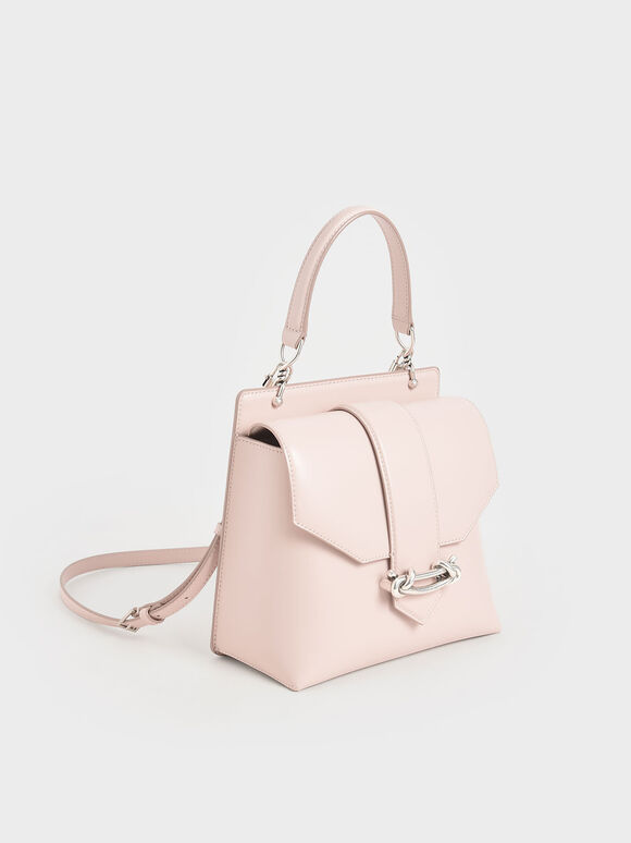 Metallic Accent Top Handle Bag, Light Pink, hi-res