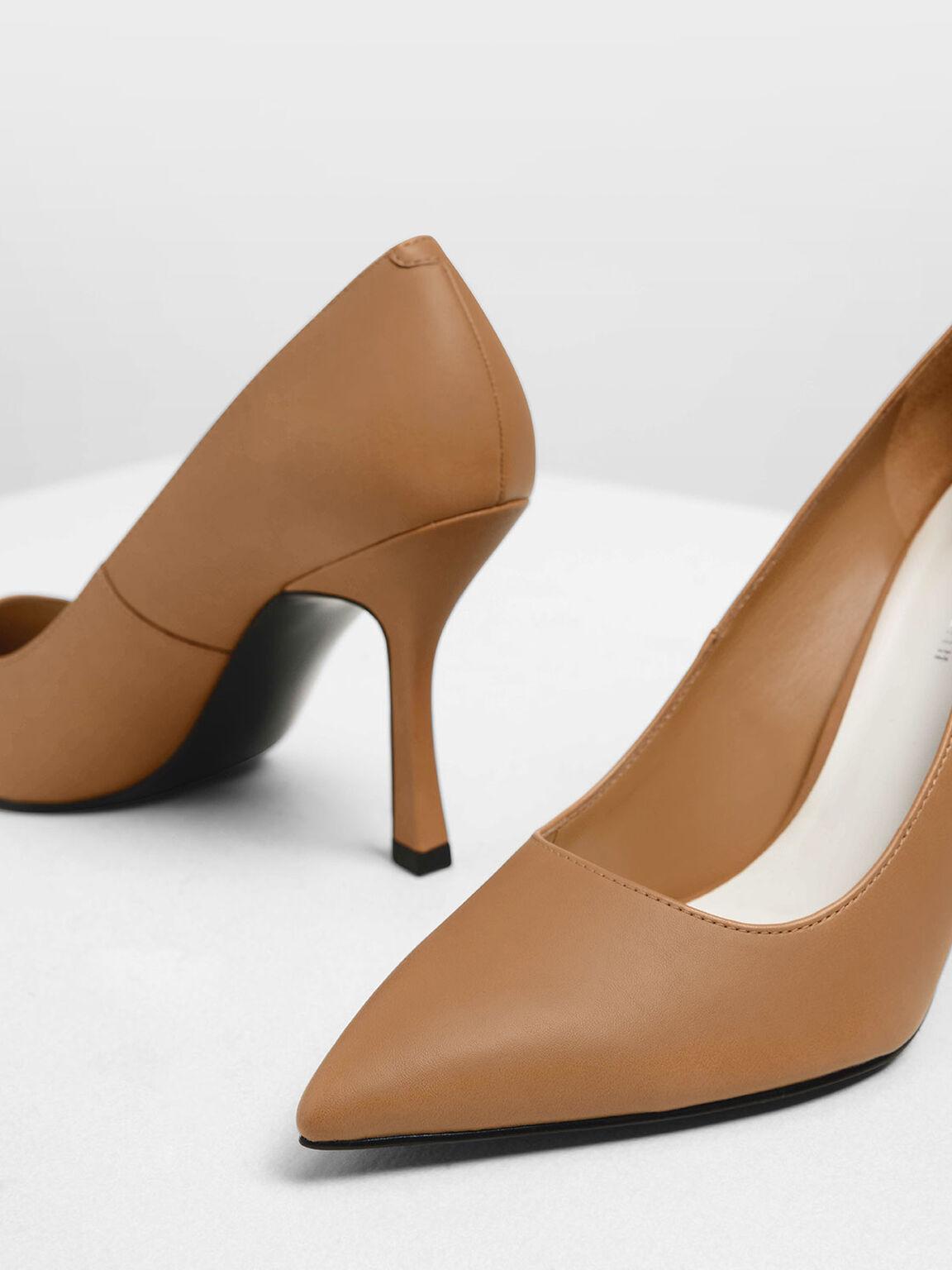 Curved Stiletto Heel Pumps, Sand, hi-res