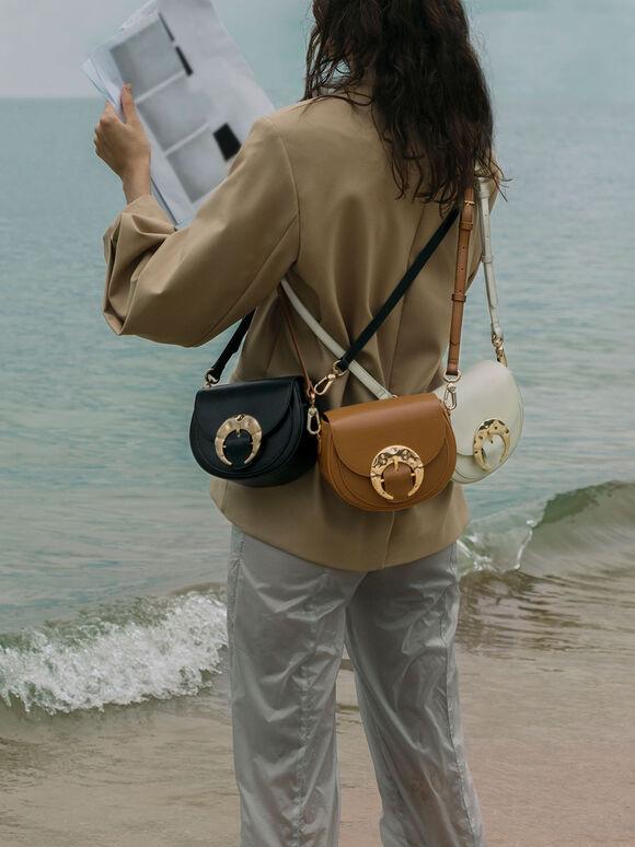 Leather Saddle Bag, Brown, hi-res