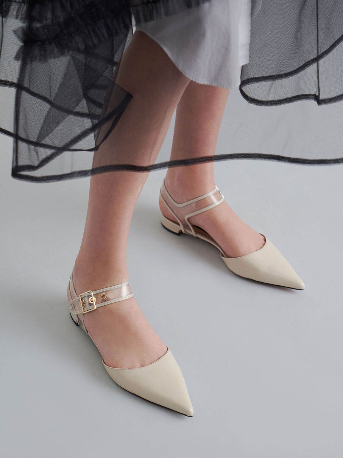 Patent Leather Clear-Strap Flat Pumps, Chalk, hi-res