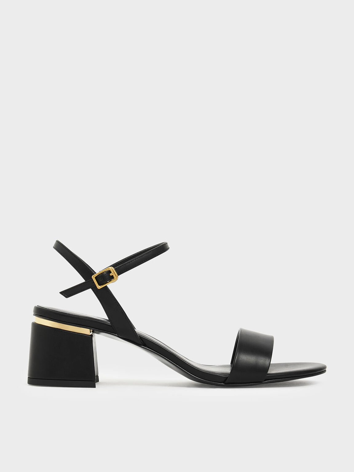 Open Toe Ankle Strap Block Heel Sandals, Black, hi-res