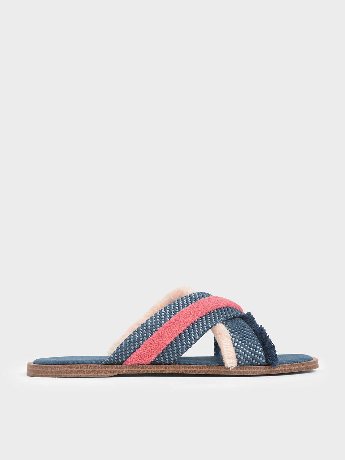 Multicoloured Woven Slide Sandals, Teal, hi-res