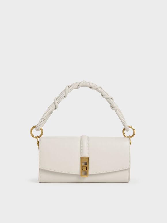 Coiled Top Handle Wallet, Cream, hi-res