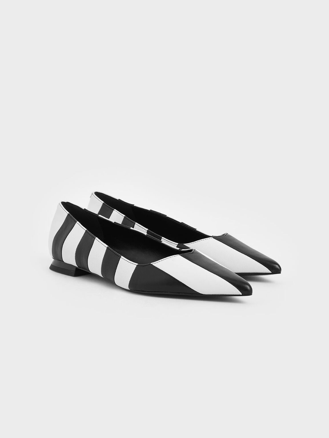 Two-Tone Leather Striped Ballerina Flats, Multi, hi-res