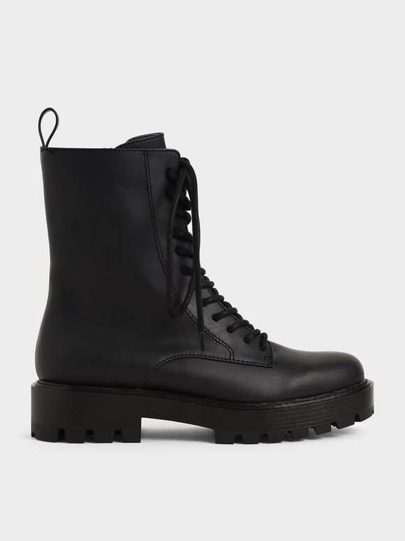 Lace Up Combat Boots, Black, hi-res