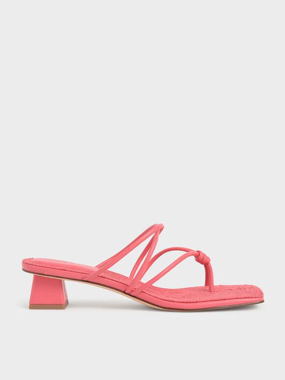 Toe Loop Strappy Heeled Sandals, Red, hi-res