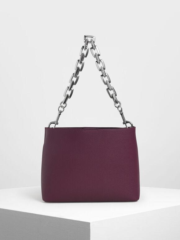 Chunky Chain Handle Bucket Bag, Prune, hi-res