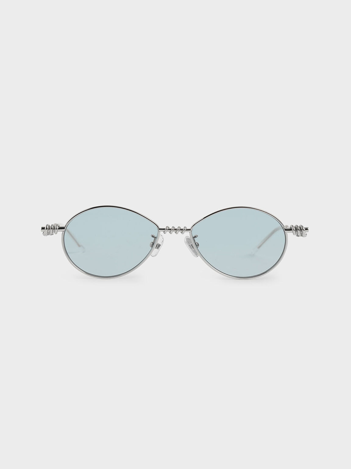 Twine Detail Oval Sunglasses, Blue, hi-res