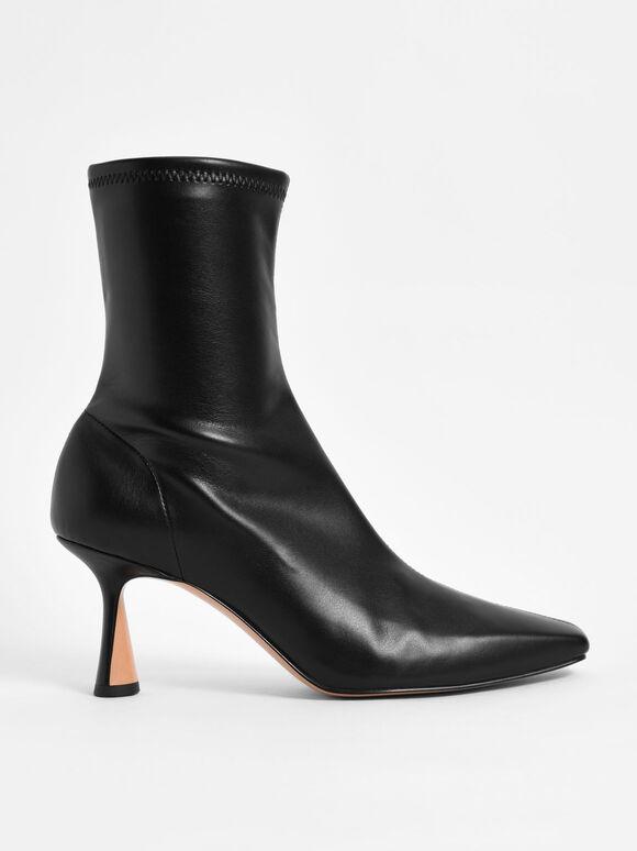 Sculptural Heel Ankle Boots, Black, hi-res