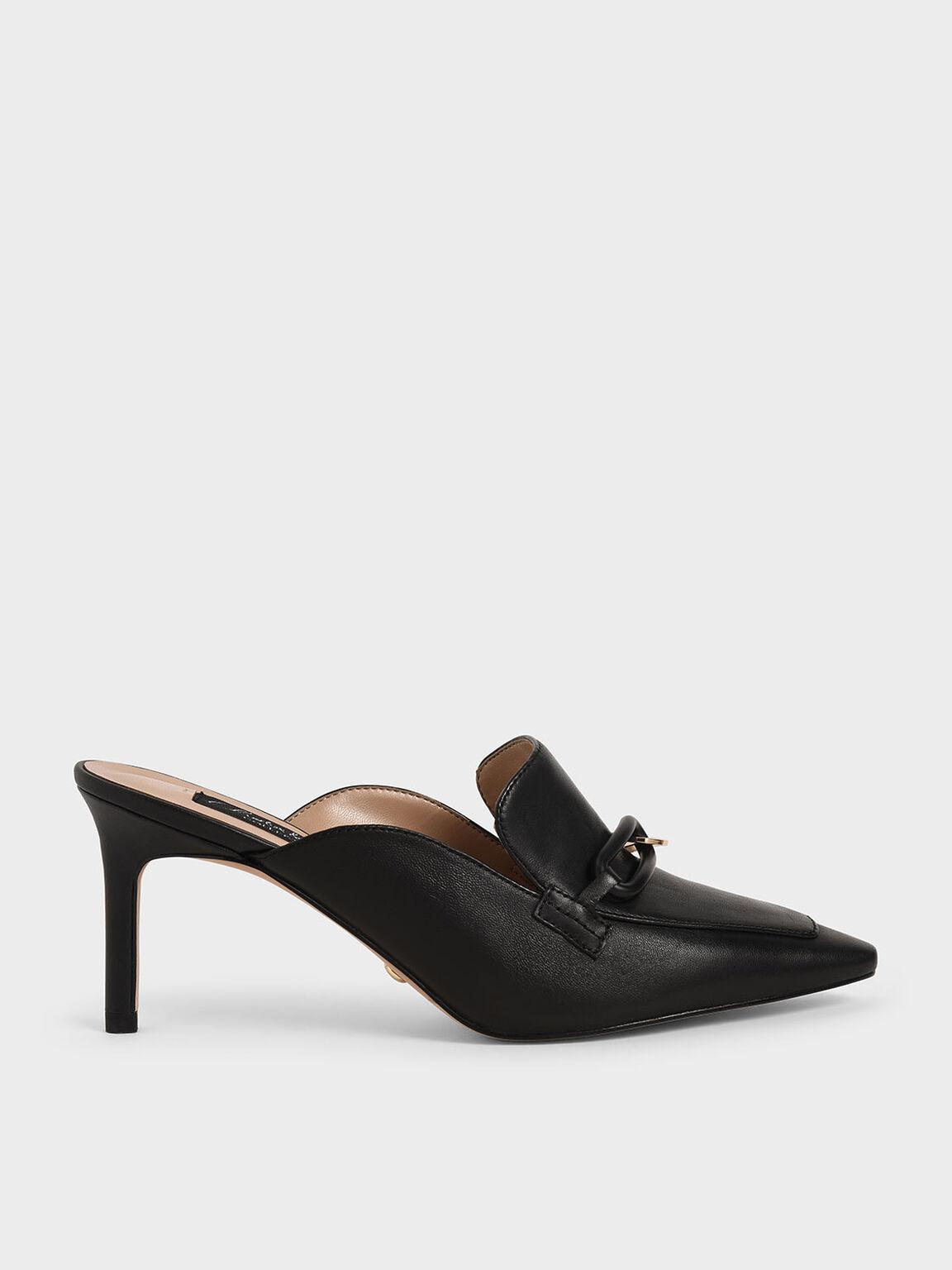 Embellished Leather Mules, Black, hi-res