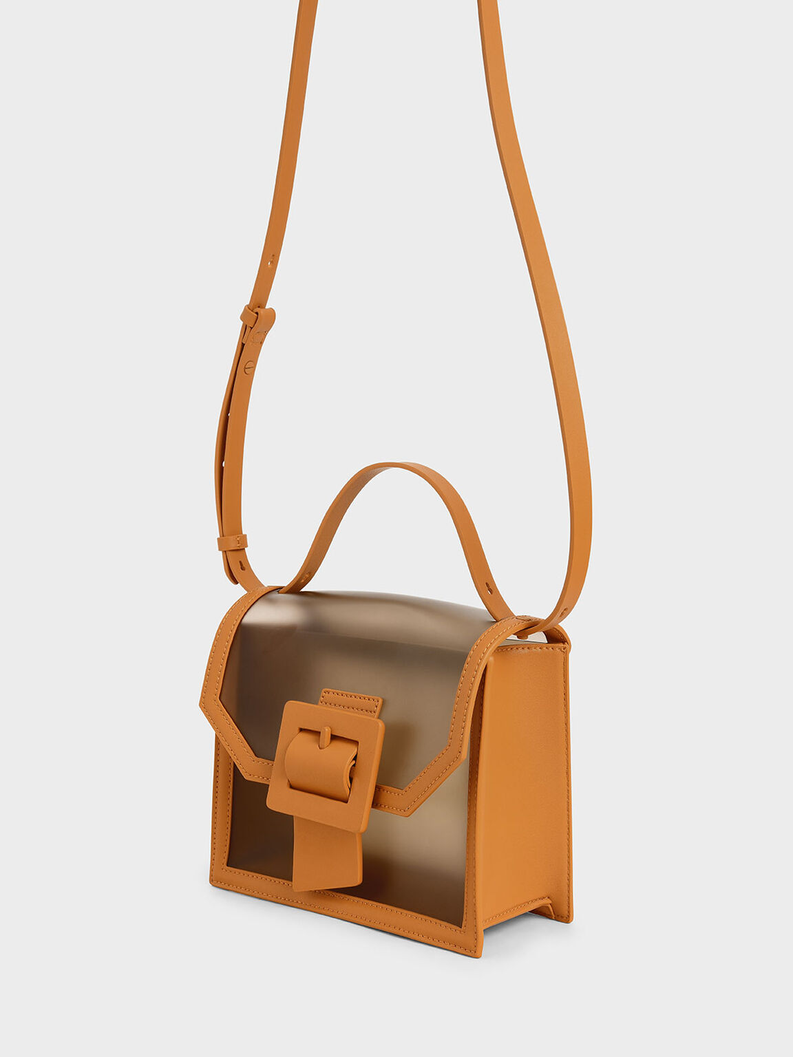 See-Through Effect Buckled Bag, Orange, hi-res
