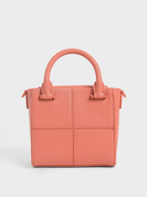 Textured Panelled Top Handle Bag, Coral, hi-res