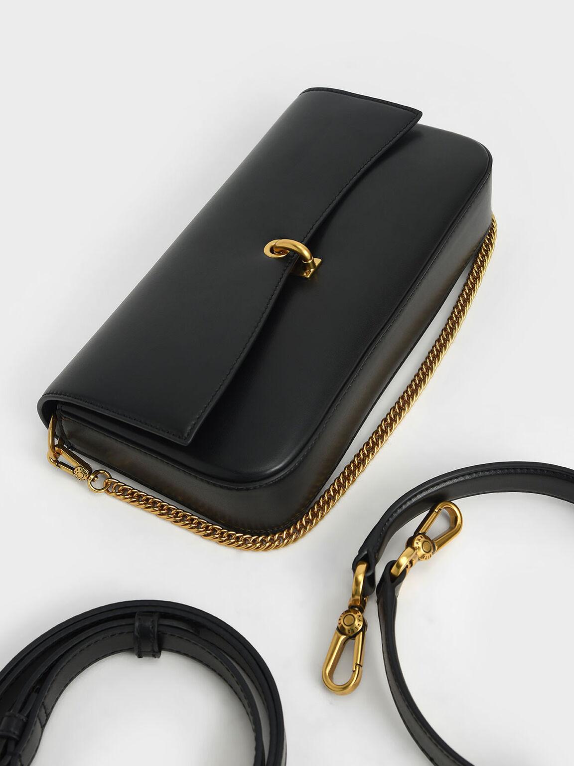 Chain Link Turn-Lock Bag, Black, hi-res