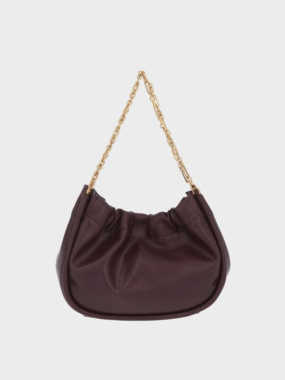 Double Chain Handle Slouchy Bag, Dark Oak, hi-res