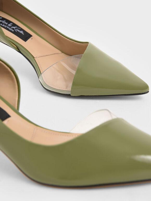 Patent Leather D'Orsay Pumps, Green, hi-res