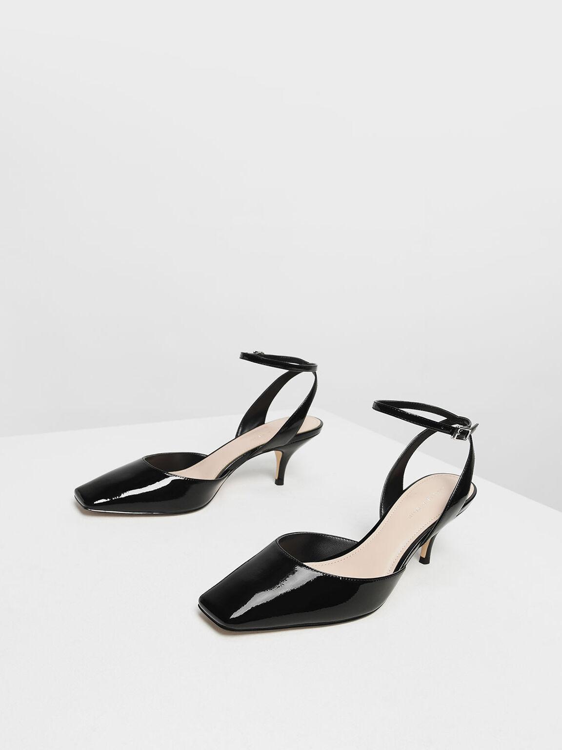 Square Toe Ankle Strap Heels, Black, hi-res