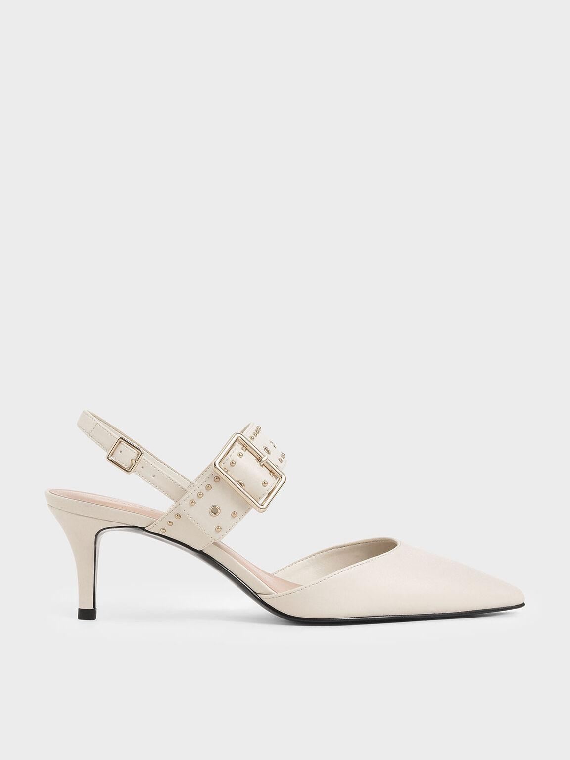 Studded Slingback Heels, Chalk, hi-res