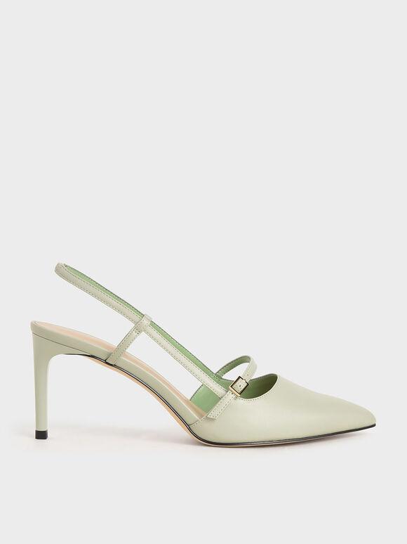 Mary Jane Slingback Pumps, Mint Green, hi-res