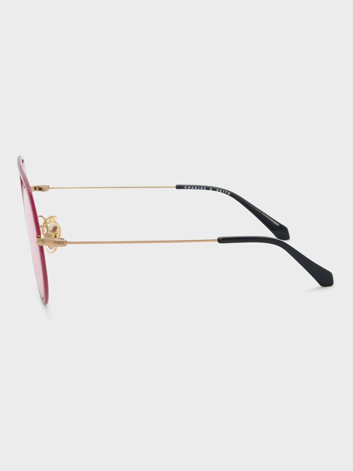 Acetate Round Frame Shades, Pink, hi-res