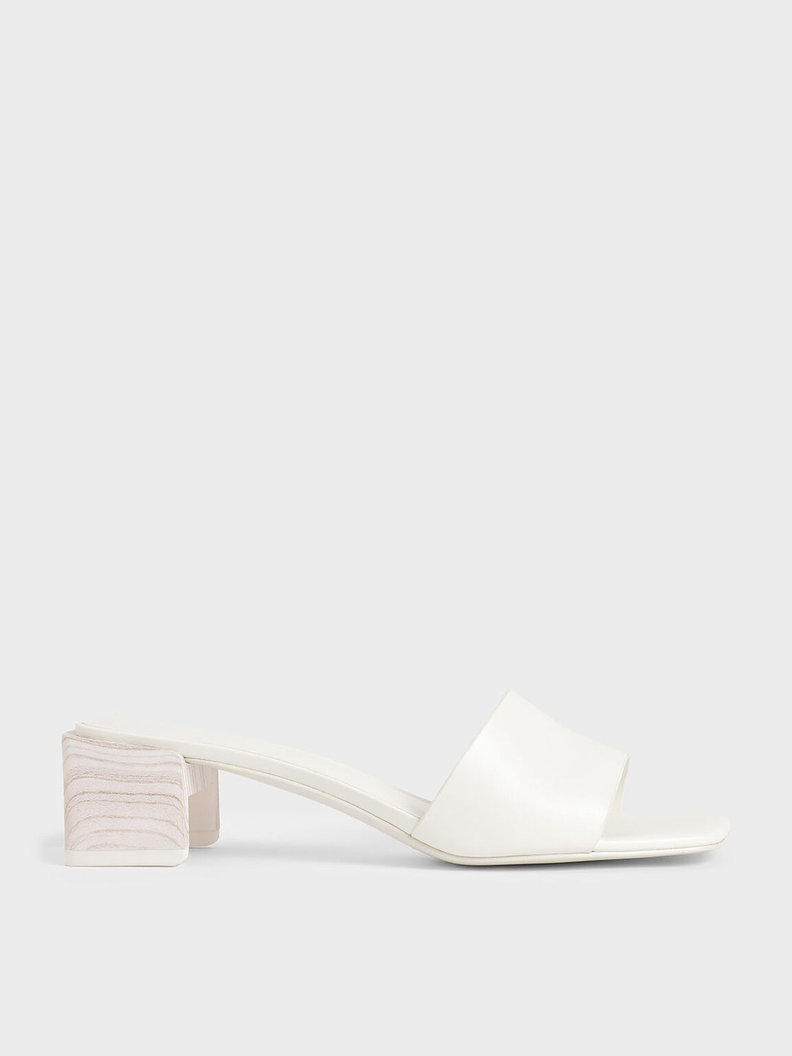 Sculptural Heel Mules, White, hi-res