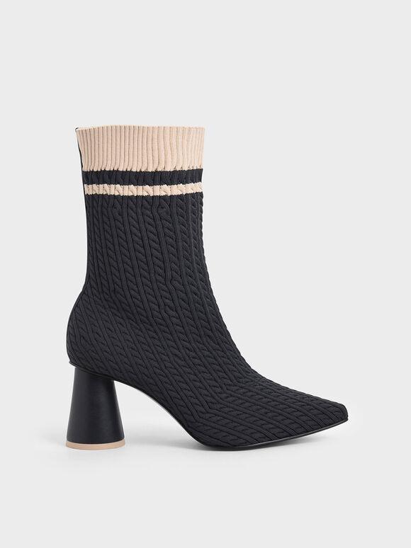 Knitted Sculptural Heel Sock Boots, Dark Blue, hi-res
