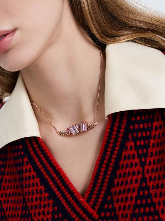 Swarovski® Crystal Embellished Matinee Necklace, Rose Gold, hi-res