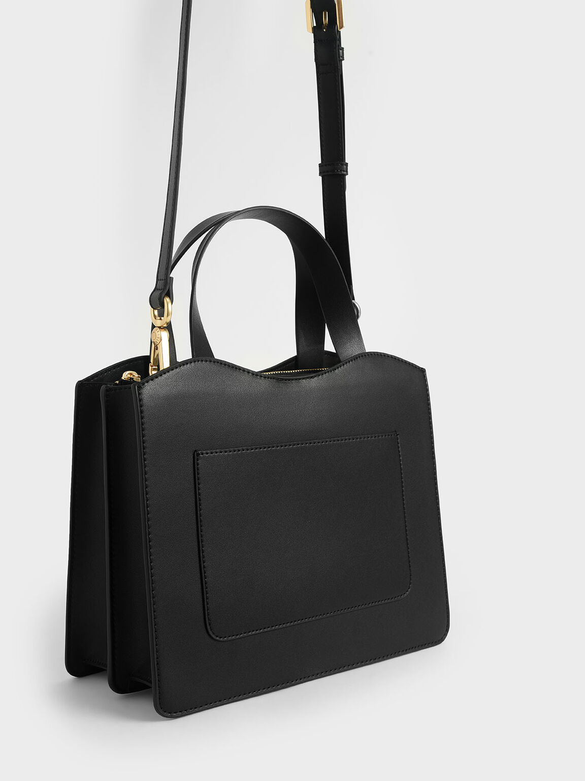 Front Pocket Double Top Handle Bag, Black, hi-res