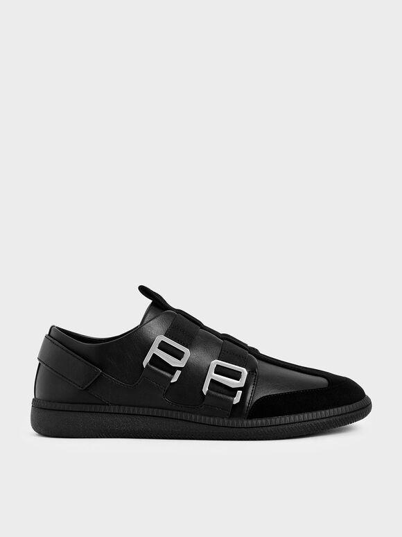 Buckle Slip-On Sneakers, Black, hi-res