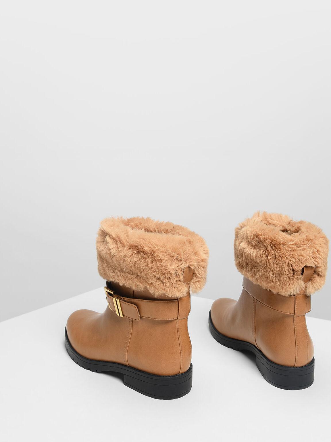 Furry Cuff Buckled Boots, Cognac, hi-res