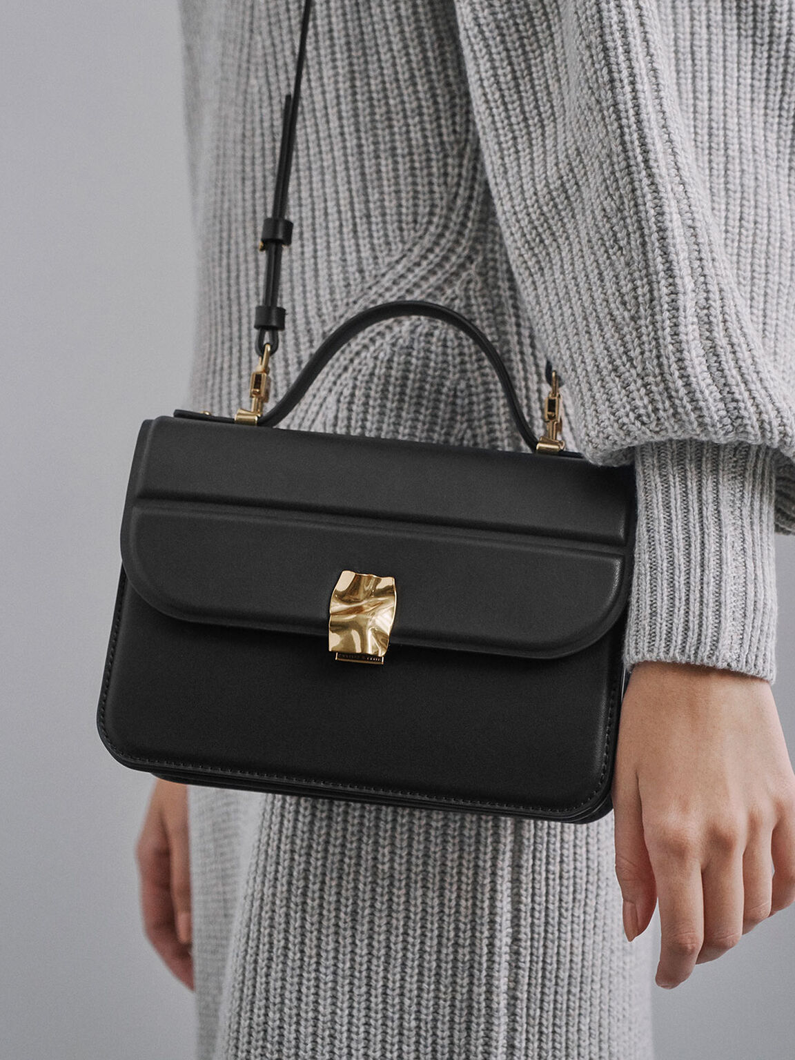Textured Hammered Buckle Bag, Black, hi-res