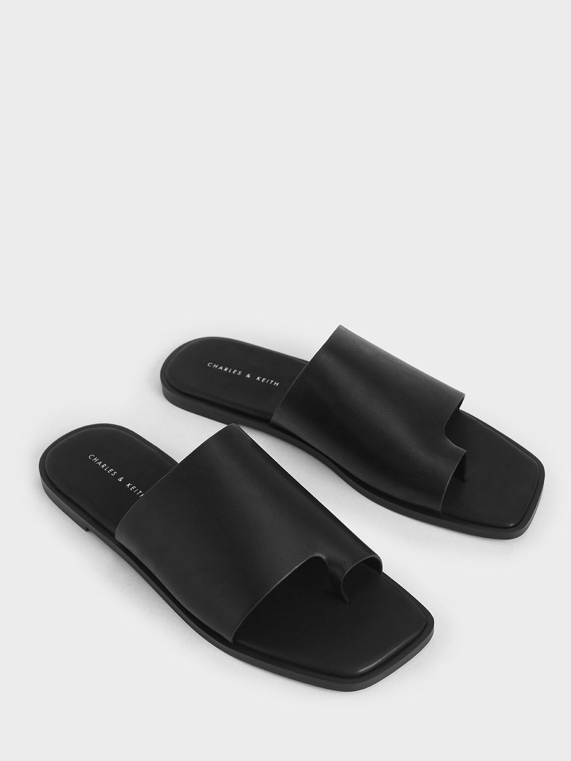 Toe Loop Slide Sandals, Black, hi-res