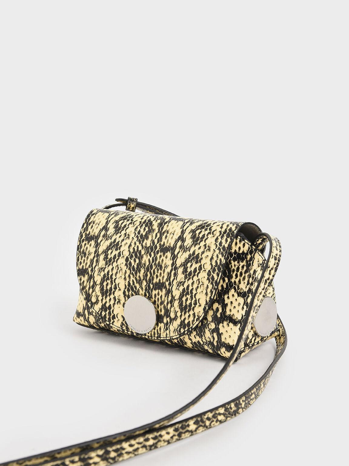 Snake Print Metal Accent Mini Crossbody Bag, Yellow, hi-res