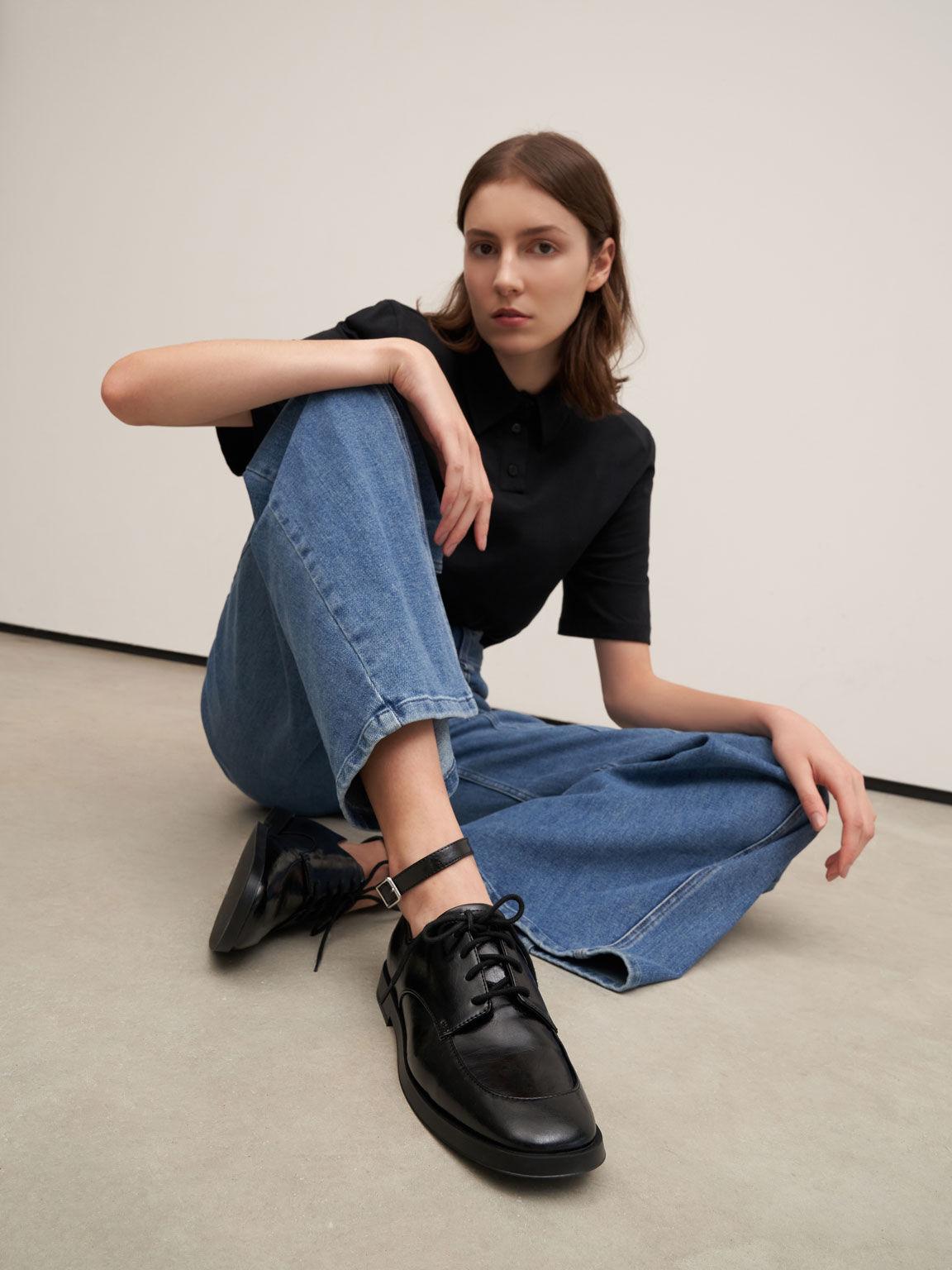 Ankle Strap Derby Shoes, Black, hi-res