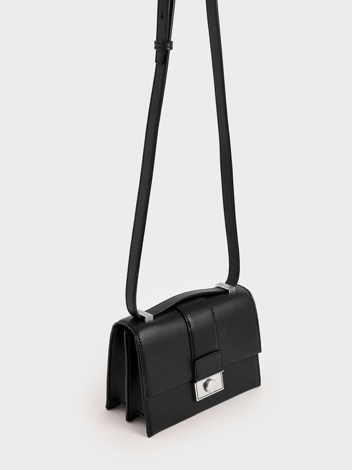 Metallic Push-Lock Crossbody Bag, Black, hi-res