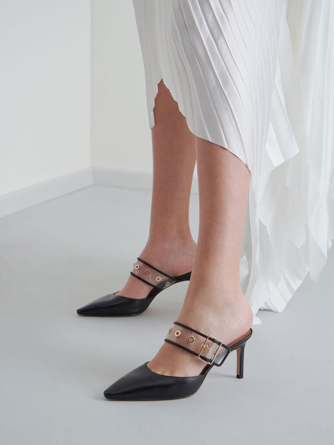 Leather Eyelet-Embellished Mules, Black, hi-res