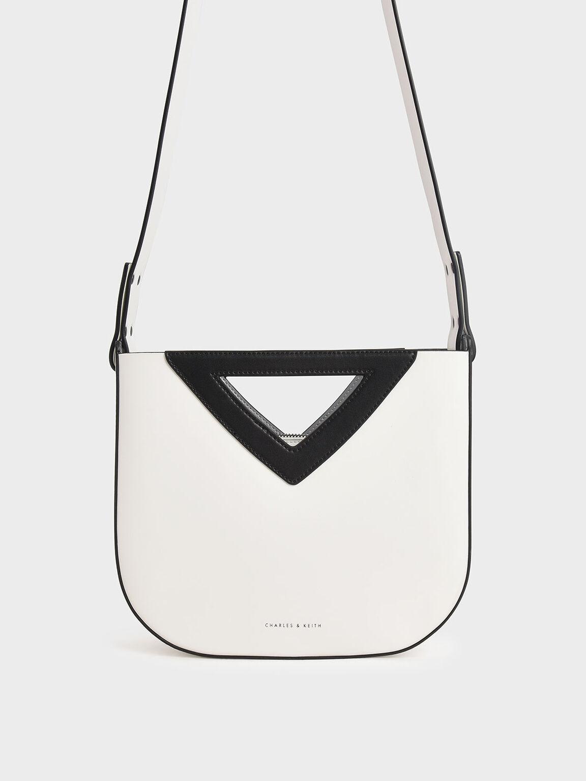 Triangle Handle Tote Bag, White, hi-res