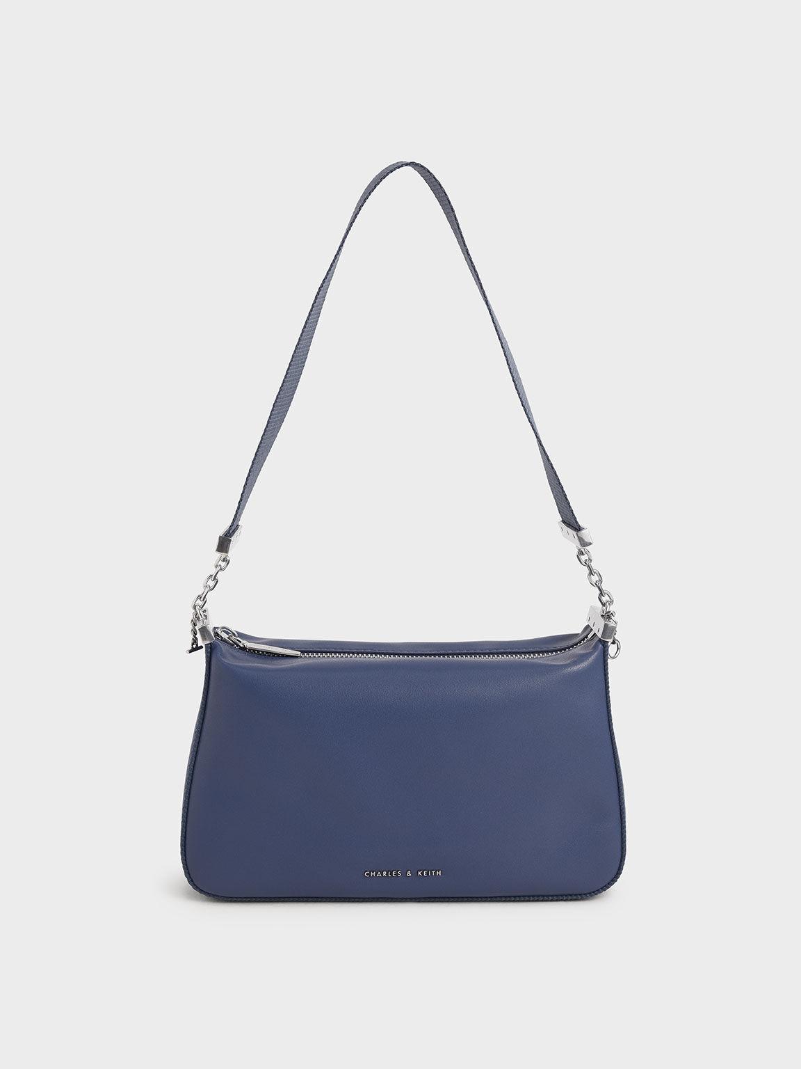 Zip Shoulder Bag, Blue, hi-res