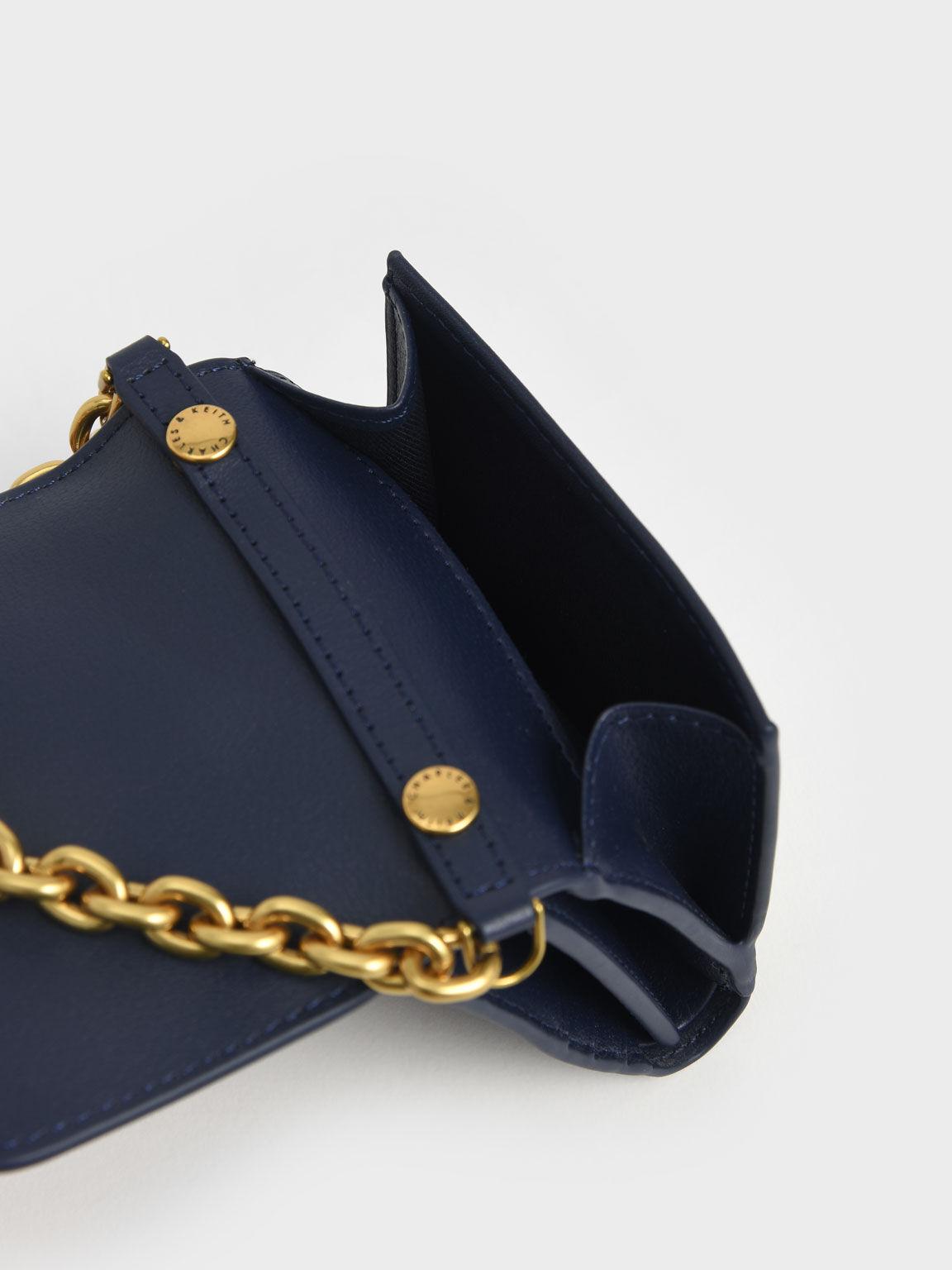Chain Handle Short Wallet, Navy, hi-res
