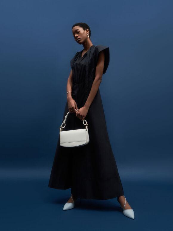 Coiled Top Handle Shoulder Bag, Cream, hi-res