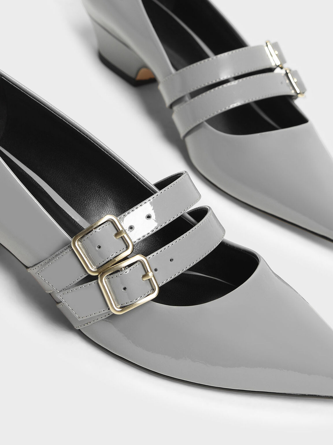 Double Strap Mary Jane Pumps, Grey, hi-res