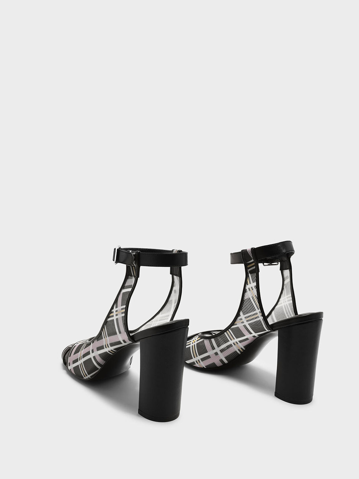 Ankle Strap Block Heel Mesh Sandals, Black, hi-res