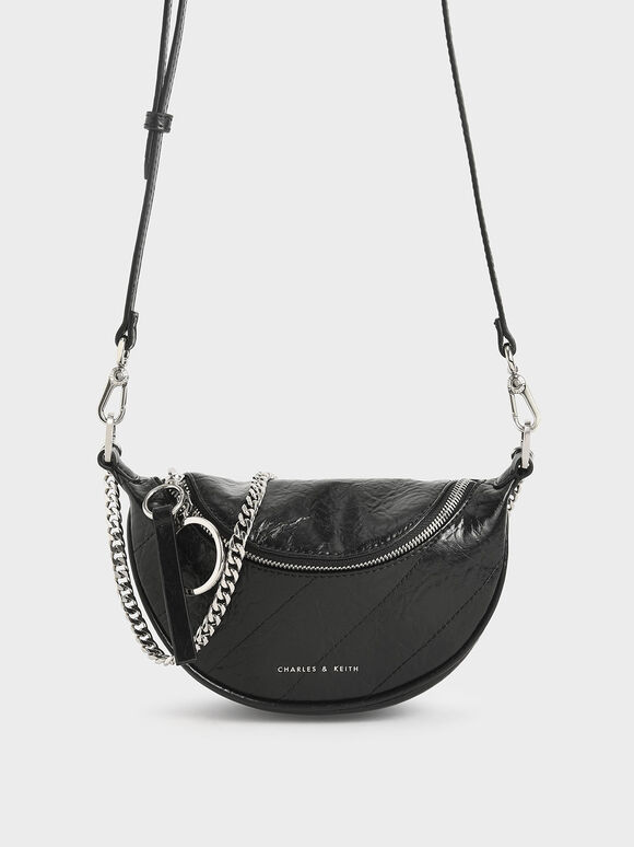 Wrinkled-Effect Saddle Bag, Black, hi-res
