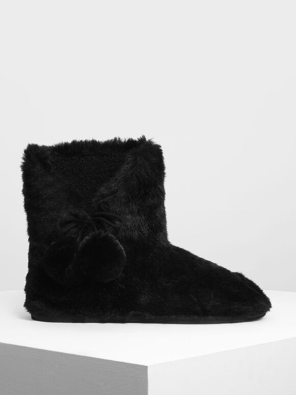 Furry Pom Pom Boots, Black, hi-res