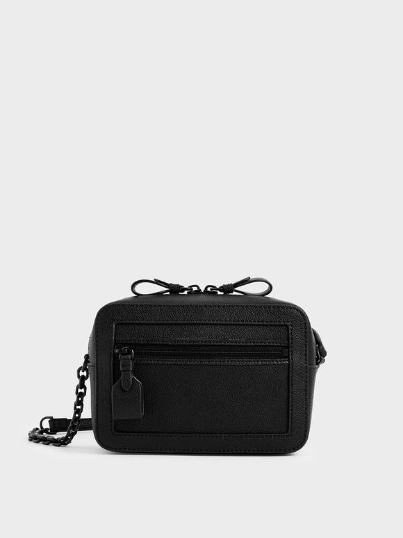Two-Way Zip Shoulder Bag, Black, hi-res