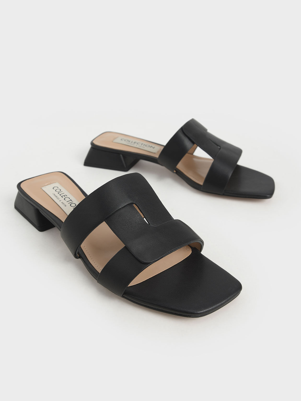 Leather Cut Out Mules, Black, hi-res